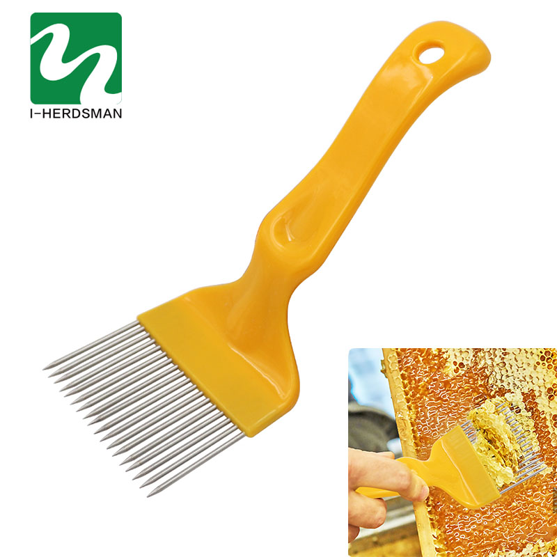 Bee Honey Tools 21 Pin Straight Needles Uncapping Forks Handle Stainless Steel Honey Sparse Rake Shovel Comb Bee Equipmen