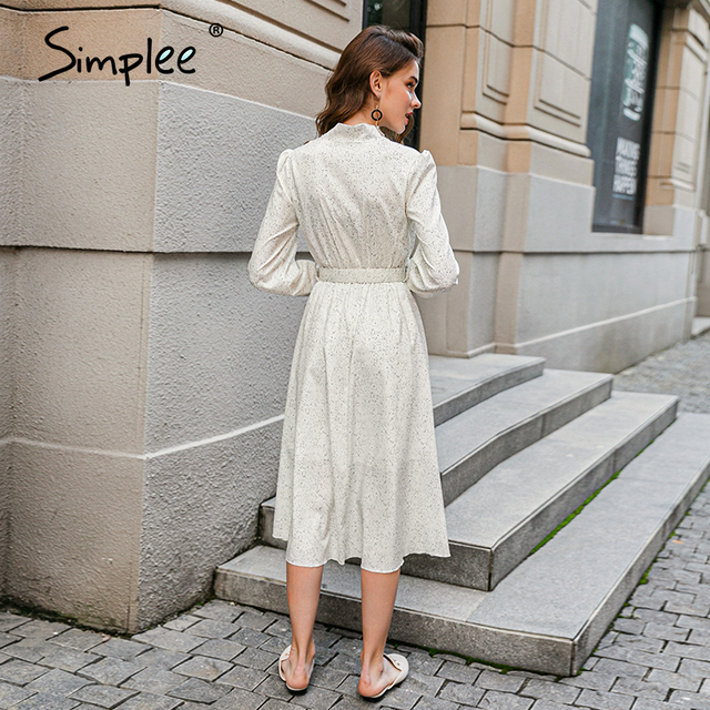 Simple Vintage white dot bow tie lantern sleeves w/belt  6