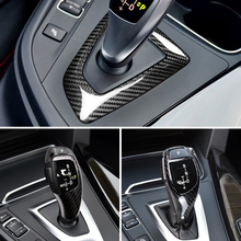 Negro de fibra de carbono Real pomo de palanca de cambios para cubierta BMW F20 F21 F30 F10 F32 F25 F26 X5 F15 X6 F16 accesorios de coche RHD LHD