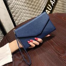 Cartera de cuero RFID para mujer, moda 2020, bolso de mano multifunción para mujer, bolso de mano sólido con broche, monedero para mujer, azul, naranja y rojo