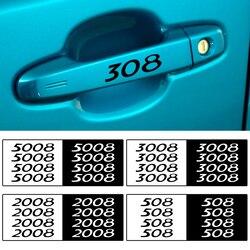 4pcs Decalques de Vinil Espelhos de Carro Limpador Adesivos Maçaneta Da Porta para Peugeot 206 207 208 306 307 308 508 106 107 108 2008 3008 5008