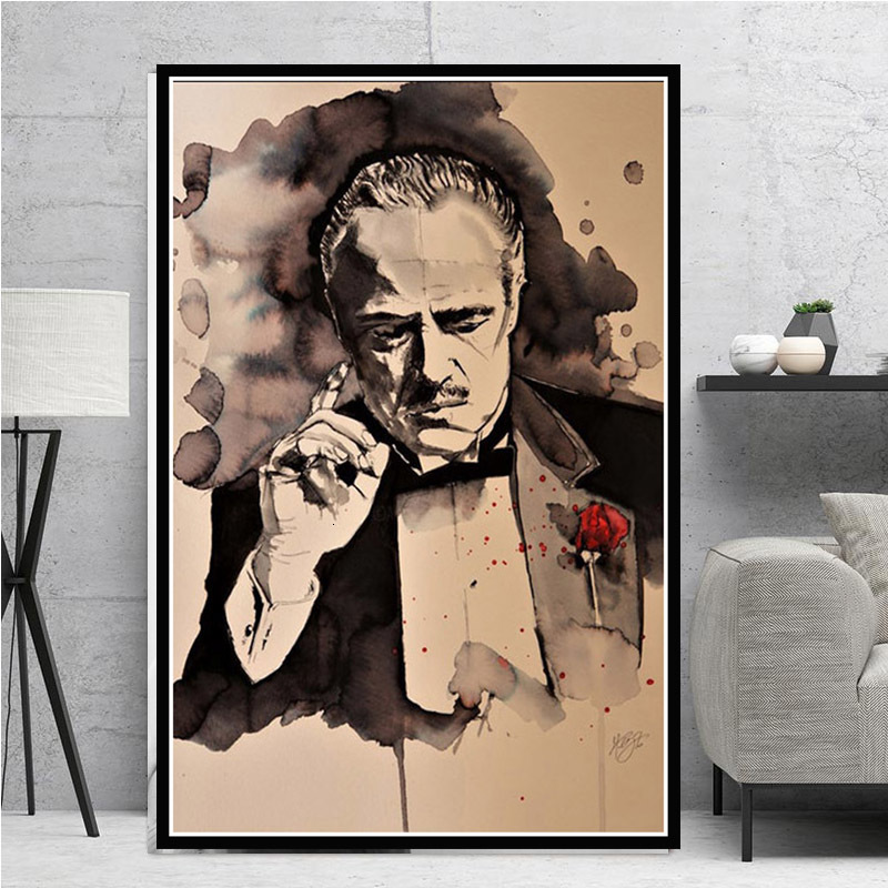 Poster And Prints Hot The Godfather Classic Movie Gangster Actor Painting Art Canvas Wall Pictures For Living Room Home Decor image