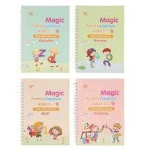 Montessori – cahier de pratique magique pour enfants, 4 livres avec stylo, effacement gratuit, écriture magique, autocollant, Version anglaise
