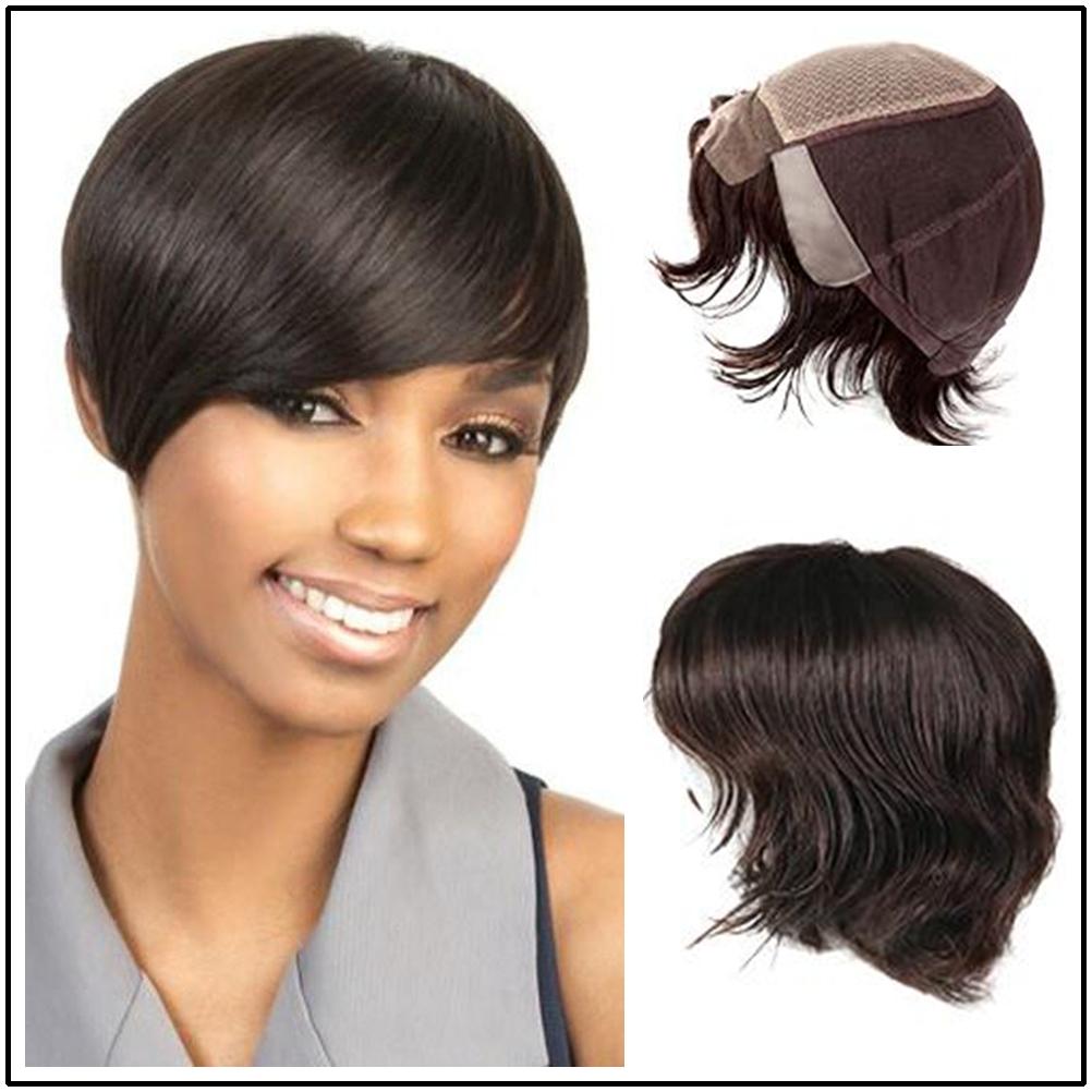 Hstonir Silk Top Wig European Remy Hair Pelucas De Mujer Pixie Wavy Lace Front Human Hair Wigs Kosher Wig G016