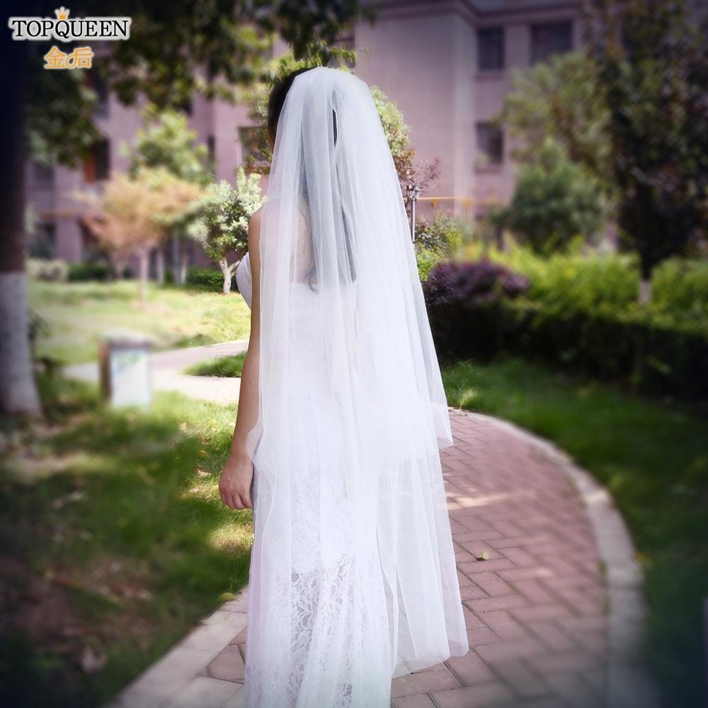 TOPQUEEN V25 2 layer Wedding Veils for Brides Fingertip Length Wedding Veil Medium Length White Ivory Wedding Veils with Comb
