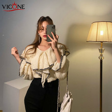 VICONE spring not regard lotus leaf collar lace shirt tops