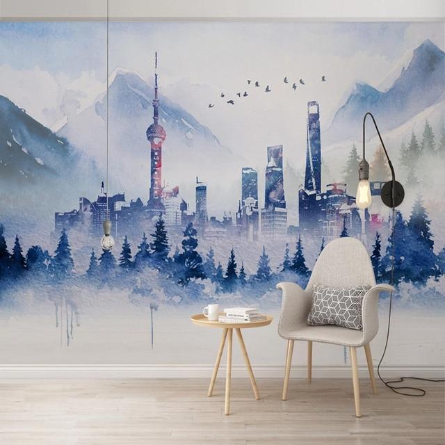 Nowoczesna tapeta 3D prosta abstrakcyjna atramentowa sztuka budynku osobowość salon sypialnia tło ściana papiery Papel De Parede 3 D