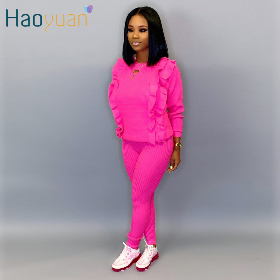 HAOYUAN Knitted Two Piece Set Tracksuit Women Long Sleeve Ruffle Top And Pant Fall Winter Clothing 2 Piece Outfits Matching Sets