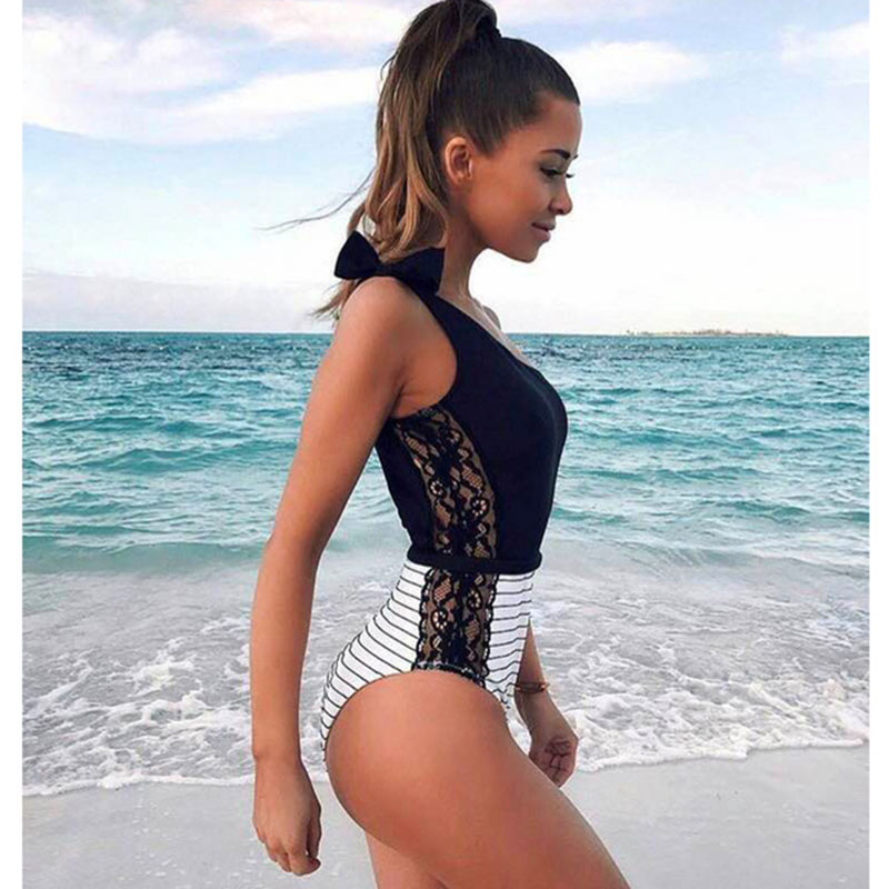 One Piece Swimsuit 2019 Sexy Cross Back Swimwear Women Swimsuit Vintage Retro Bathing Suits Beach Wear Swim Print Monokini S-XL