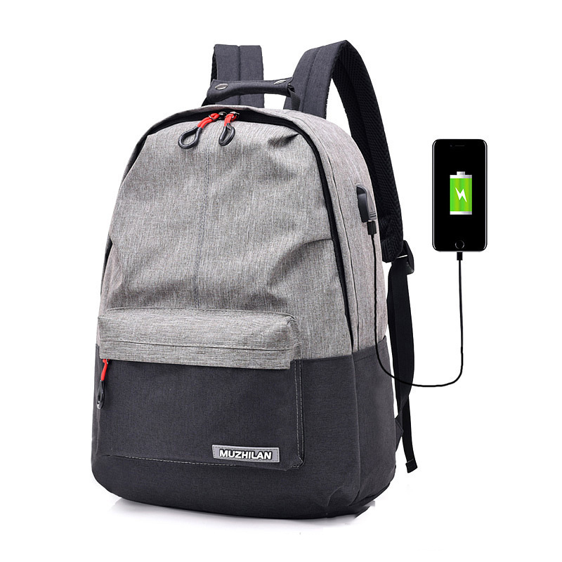 2019 New Both Shoulders Bag USB Charger Patchwork Backpack Women Computer Backpack Large Capacity Travel Bag School Bag For Girl in Backpacks from Luggage Bags