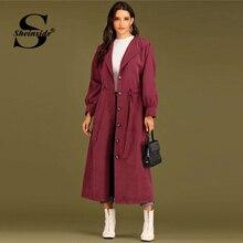 Sheinside Burgundy Elegant Single Breasted Drawstring Trench Coat Women 2019 Aut