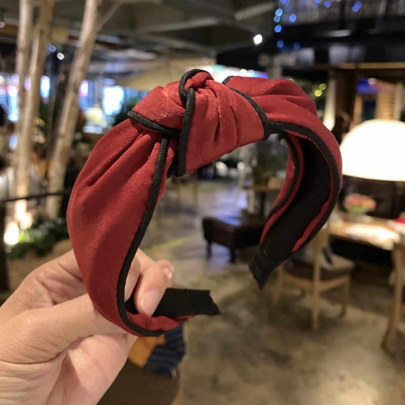 Décontracté femmes littéraire bandeau torsion large côté bandeau noeud noeud croix cravate tissu bandeau cheveux bandeau cerceau cheveux accessoires