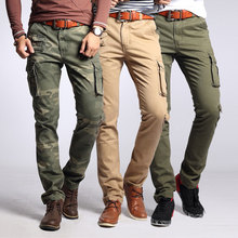 2020 Новых Мода Дизайнер Мужские Джинсы Тонкий Fit Мульти Карманы Свободного Покроя Брюки-Карго Камуфляж На Открытом Воздухе Военные Брюки Мужчины