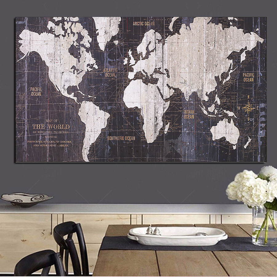 MUTU HD Large Size Abstract Black And White World Map Modern Painting On Canvas Poster Print Wall Art Picture For Living Room