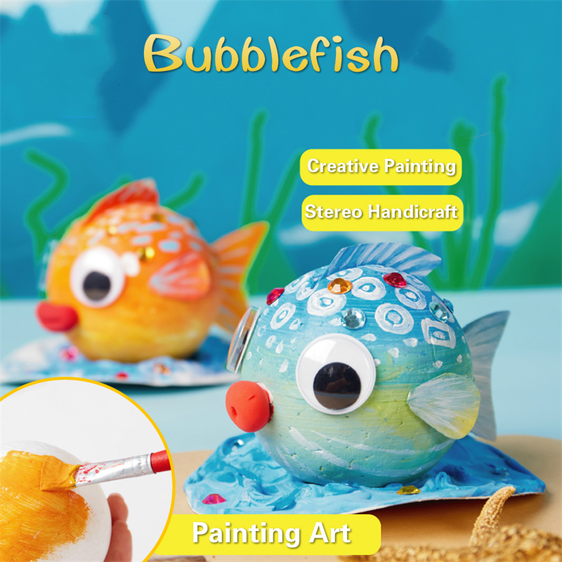 DIY Bubble Fish Drawing Toys For Children Foam Ball Painting Kindergarten Art Kids Craft Educational Toys Decorations Gifts