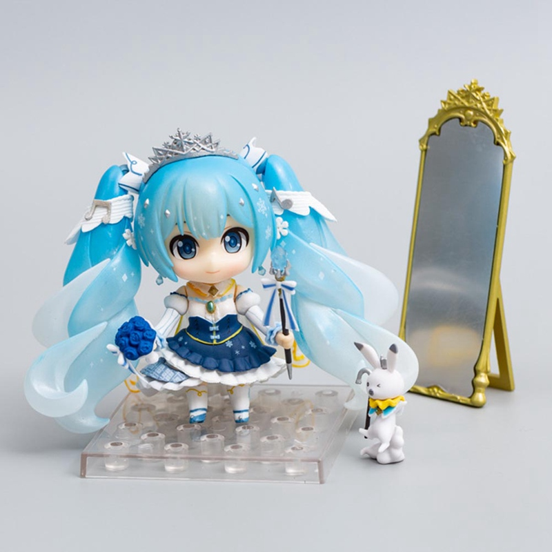 Cute Anime Hatsune Miku Princess Ver. 1000 Snow Miku Q Version PVC Action Figure Collectible Model Kids Toys Doll Gift image