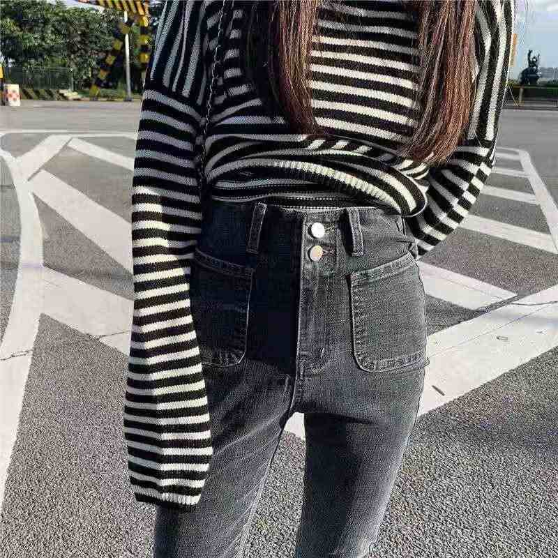 Zpqowv Otono Invierno Pantalones De Mujer De Moda Jeans De Tiro Alto Diseno Unico Negro Gris Pantalones Vaqueros Flacos Visualmente Mostrar Las Piernas Mas Largas Pantalones Vaqueros Aliexpress