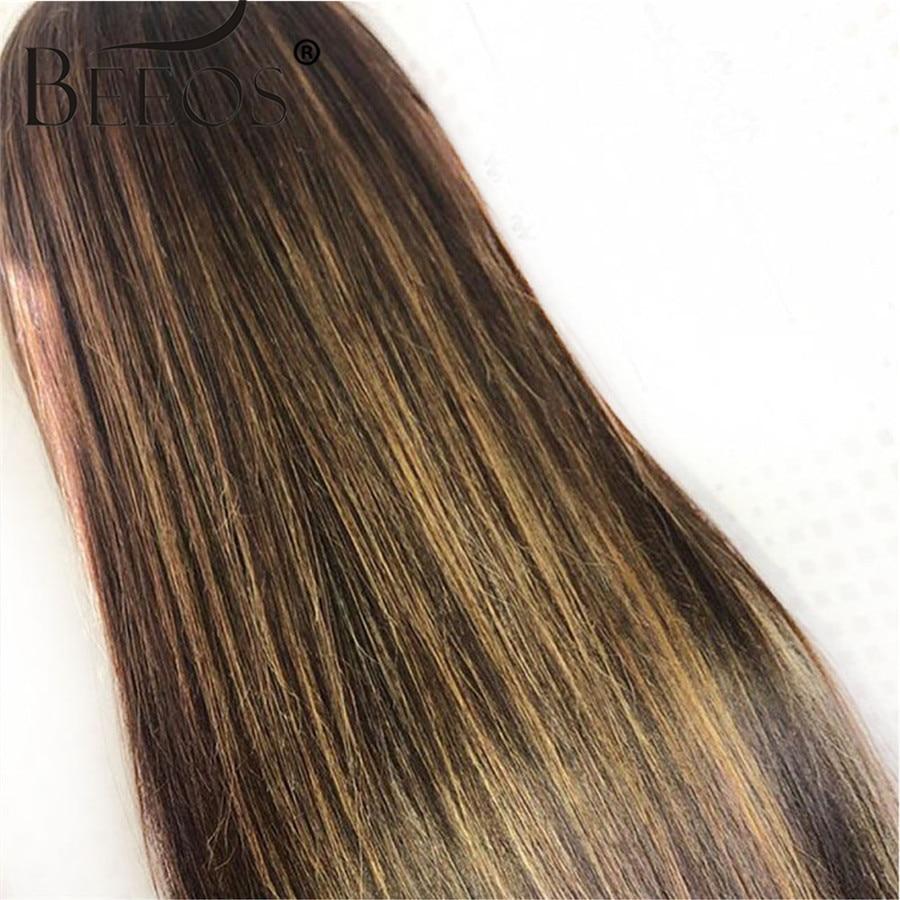 13*6 parte profunda do laço frente peruca de cabelo humano em linha reta destaque cor do cabelo pré arrancado linha cabelo descorado nós cabelo remy brasileiro - 4