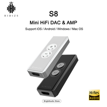 Hidizs S8 CS43131 Chip Mini HiFi Decoding Amplifier USB DAC PCM 32bit/384kHz Natively DSD256 for iOS/Android/PC Lightning/Type C