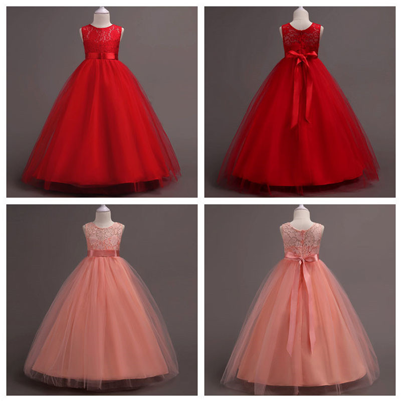 Flower Girl Dress Princess Lace Pageant Bridesmaid Wedding Gown for 3-14Years