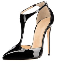 Summer Fashion Sandals Women's T-Strap Pointed Toe Solid Ankle Strap Buckle High Heels Patent Leather Pumps Sandals Women Shoes 2015 plus size sweety women sandals wedges high heels patent leather t strap ankle buckle strap chunky rivets decorated summer