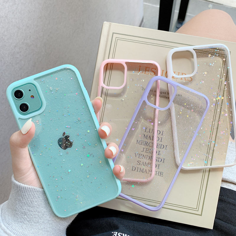 GIMFUN Star Bling Glitter Phone Case for Iphone 11 Pro Max Clear Back Love Heart Tpu Case Cover for Iphone Xr X 7 6 8 Plus SE20(China)