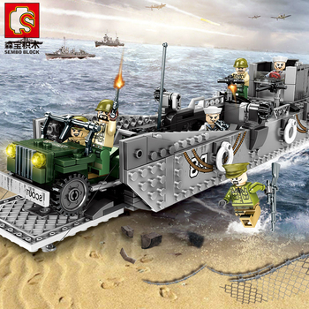 Sembo Block LCM3 Landing Ship and Tank WW2  Army Building Blocks Military Bricks With 6 Soldier Figure Constructor Toys for Kids cheap blocks electronic constructor building block designer kits for kids discover electronic science project circuit educatio
