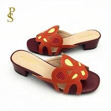 여성을위한 나이지리아 스타일 슬리퍼 여성을위한 패션 매칭 신발 여성용 로우 힐 신발