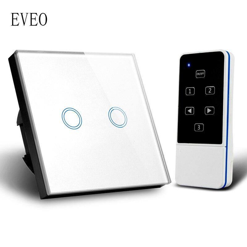 EVEO, interrupteur Standard EU, interrupteur tactile, interrupteur d'éclairage, interrupteur mural, panneau en verre trempé, 2 bandes, avec télécommande
