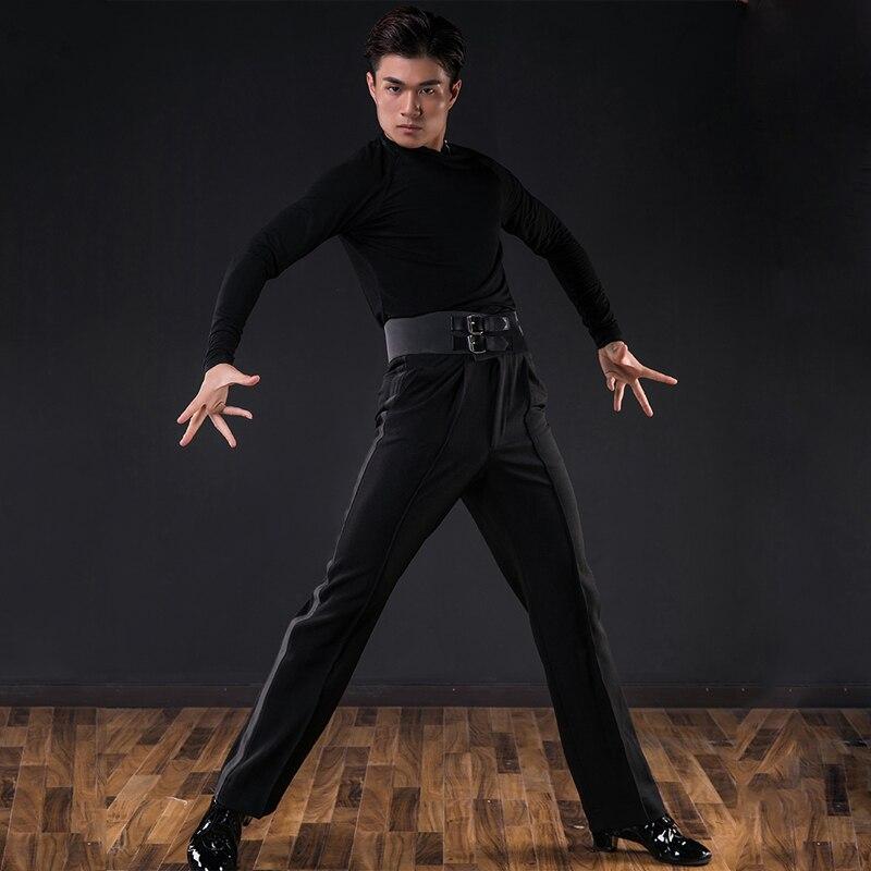 Men Latin Dance Costumes Modern Dance Practice Clothes Black Male Standard Dance Long-Sleeved Latin Dance Dress Shirt DQS3294