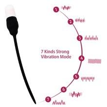 Insertion Urethral Plug Sex Toys for Men Catheter Urethral Dilators Adult Products Penis Plug Vibrator Silicone 7 Frequency