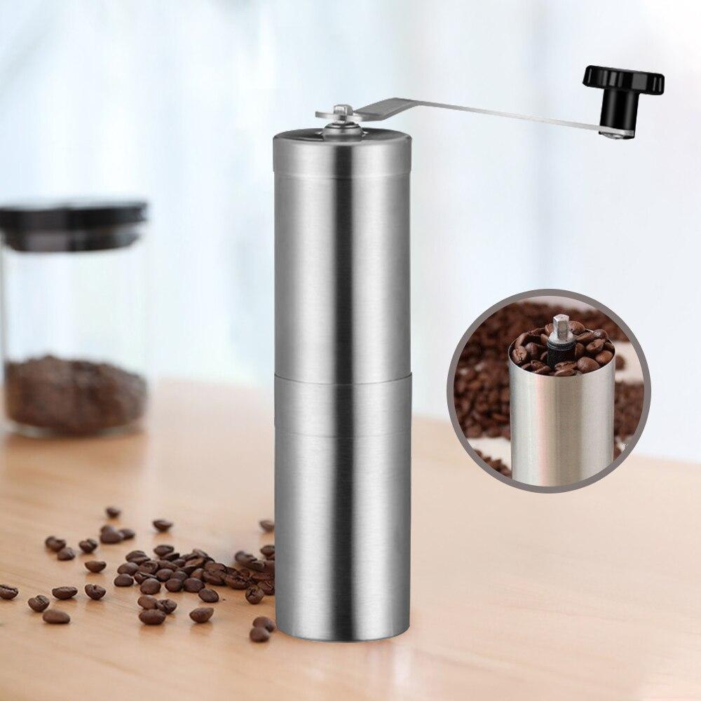 Silver Coffee Grinder Mini Stainless Steel Hand Manual Handmade Coffee Bean Burr Grinders  Kitchen Tool Crocus Grinders
