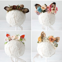 Baby Girl Flower Headbands Newborn Photography Props Fox Ear Floral Crown Deer Fur Halo Prop Infant Unicorn Accessories(China)