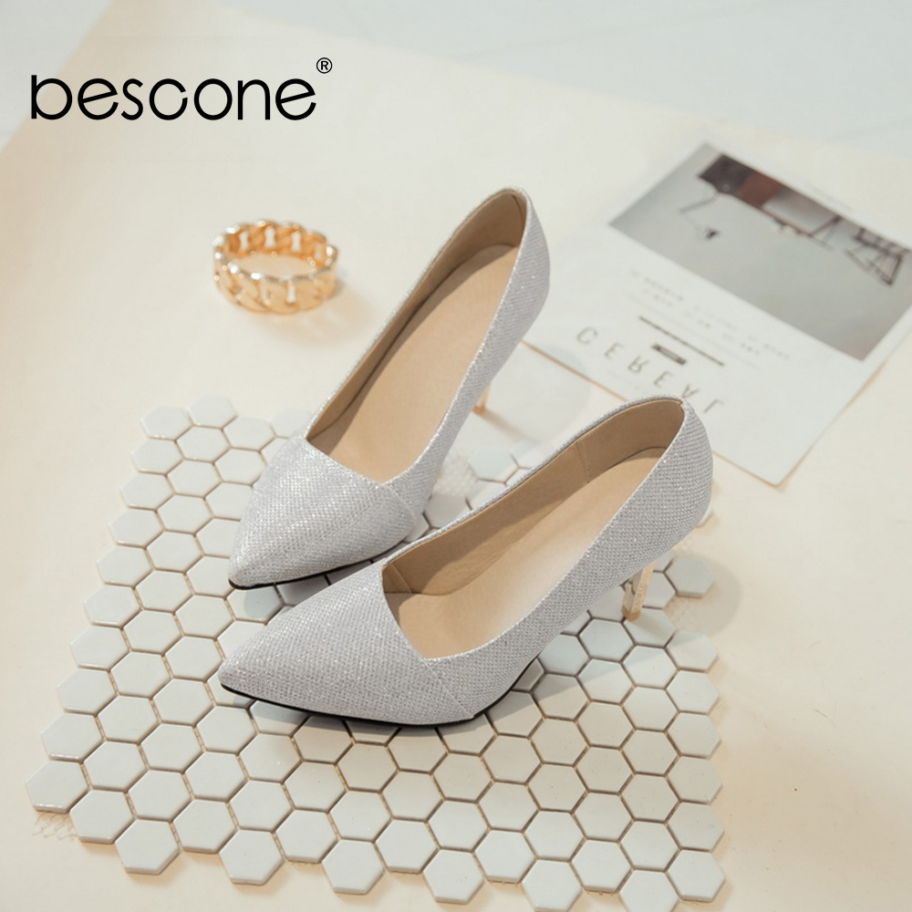 Image 3 - BESCONE Elegant Ladies Pumps Sexy Pointed Toe Office Shallow Thin Heel Shoes Handmade Slip On Super High Heel Women Pumps BM92Womens Pumps   -