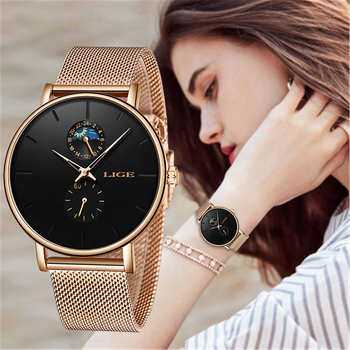 LIGE New Women Luxury Brand Watch Simple Quartz Lady Waterproof Wristwatch Female Fashion Casual Watches Clock reloj mujer 2020 lige 2020 couple watches for lovers top brand luxury quartz clock waterproof wristwatch fashion casual ladies watch reloj mujer