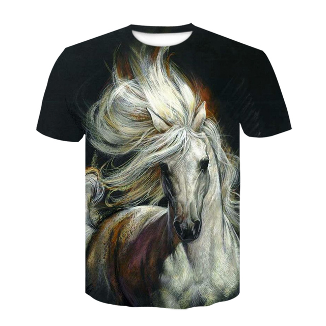Summer New O-neck Wearing A flower Headband Horse T-Shirt 3D Fashion T Shirt Animal Clothes Men Women Large Size Tshirt Dropship 3