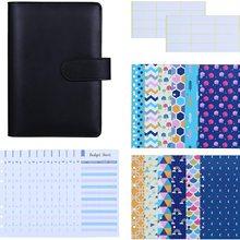 27 Piece A6 PU Leather Folder Budget Cash Envelope System Budget Planning Expenditure Budget Sheet and Labels for Bills Notepad