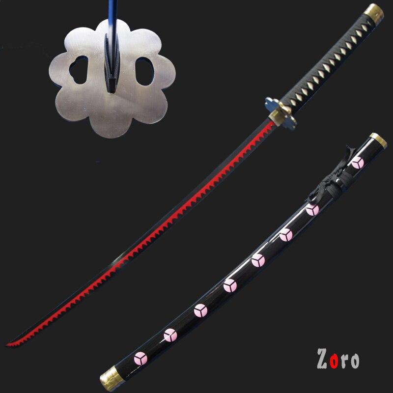 Véritable Anime épées katanas une pièce Cosplay ShusuiSandai Zoro épée décoration accessoire de noël rouge placage pas de métal pointu artisanat