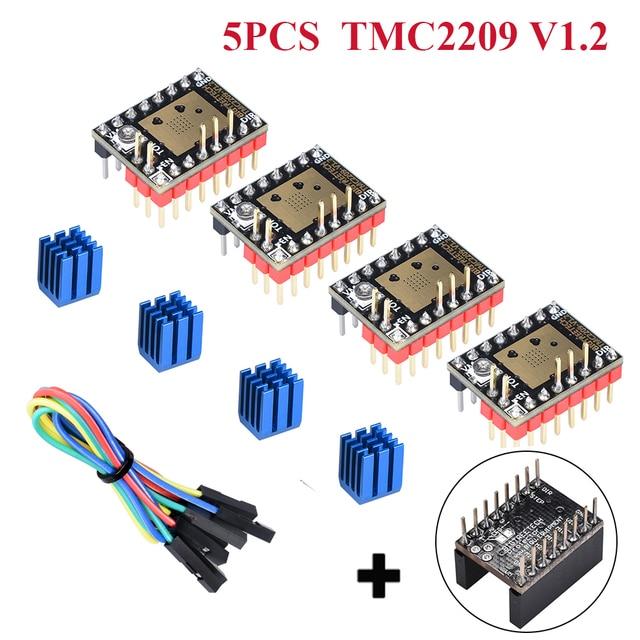 5PCหน้าจอ: BIGTREETECH TMC2209 V1.2 Stepper Motor Driver UART + 5Pc Protector 3Dชิ้นส่วนเครื่องพิมพ์TMC2208 Ramps 1.4 SKR v1.4 Turbo MKS Board