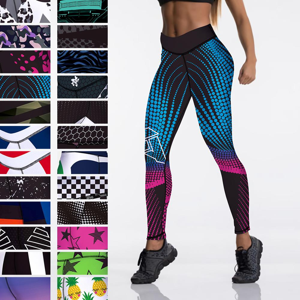Qickitout 12%spandex Sexy High Waist Elasticity Women Digital Printed Leggings Push Up Strength Pants 1