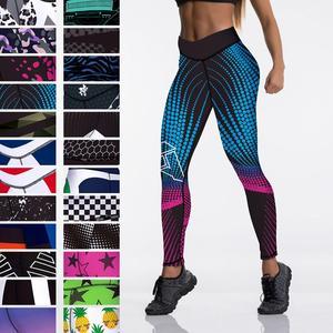 Qickitout 12%spandex Sexy High Waist Elasticity Women Digital Printed Leggings Push Up Strength Pants