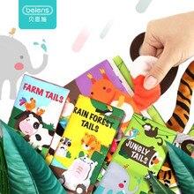 מותג תינוקות 3 סגנון תינוק ספרי בד מוקדם למידה צעצועים חינוכיים עם חיות זנבות רך בד פיתוח ספרים רעשנים