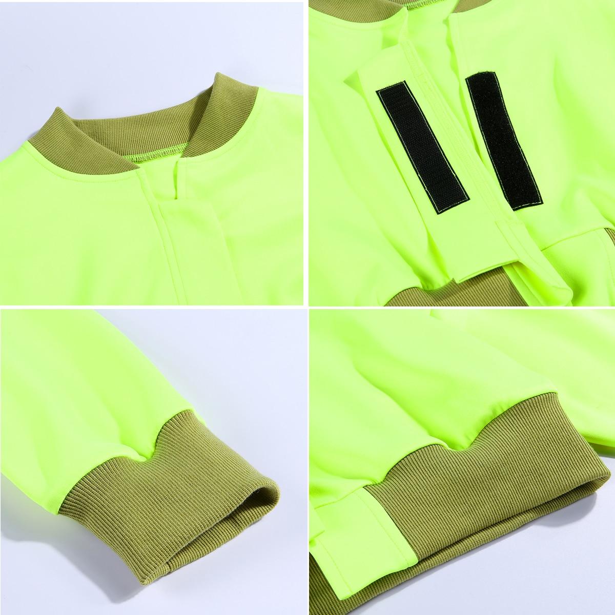 He9b740e551c94e13a0c3a64093eb0fee7 Neon Green Cropped Jacket Women Streetwear Outwear Windbreaker Bomber Baseball Coats and Jackets Autumn 2019