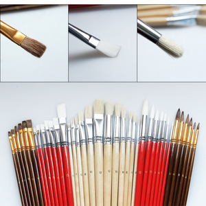 Image 4 - 38pcs/Set Nylon Hair Bristle Artist Paint Brushes with Canvas Case Wooden  Art Supplies For Oil Acrylic Watercolor Painting