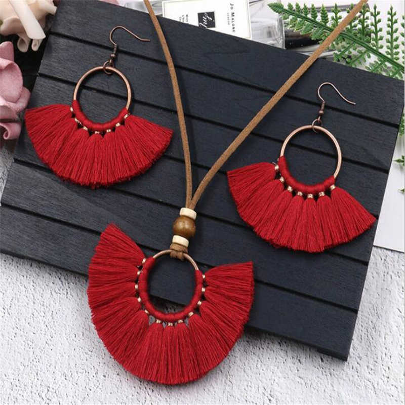 Bohemian Ethnic Colorful Tassel Jewelry Sets For Women Handmade Weave Long Tassel Earrings Necklace Set Pendant Sweater Chain