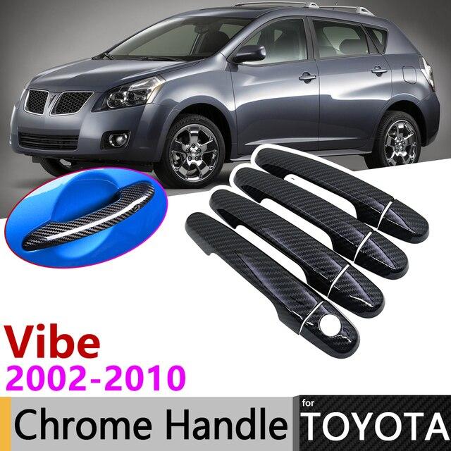 Noir en Fiber de carbone extérieur poignée de porte couverture pour Pontiac Vibe 2003 ~ 2010 2004 2007 2009 voiture accessoires autocollants garniture ensemble Chrome