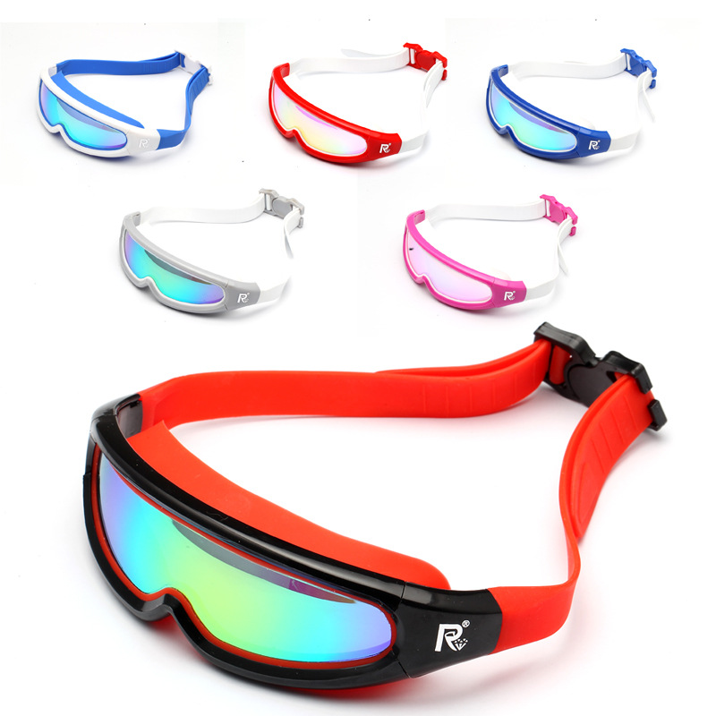 Swiss And Goggles High-definition One-piece Adult Waterproof Anti-fog Electroplated Large Frame Swimming Glasses Colorful Electr