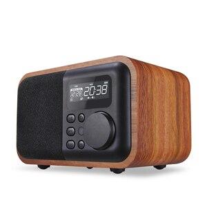 Petit caisson de basses Audio haut-parleur Bluetooth Radio enfichable nouveaux meubles en bois multimédia Mini réveil