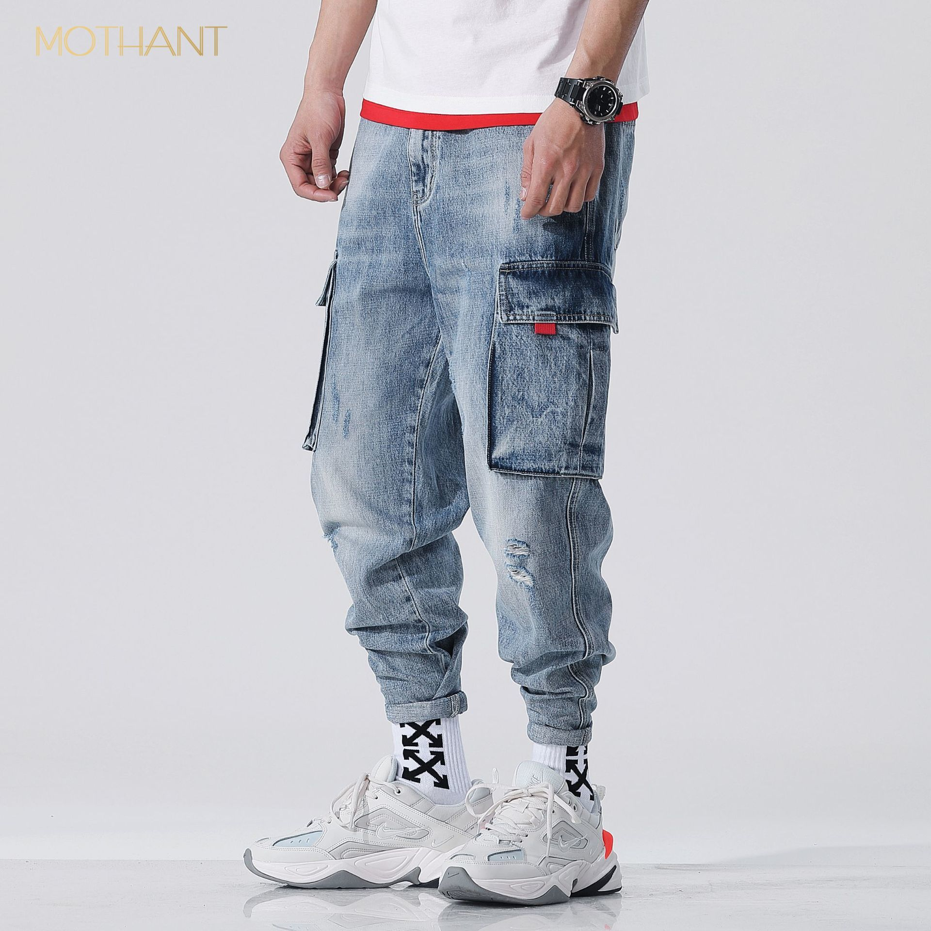 Tide Brand Loose Japanese Harlan Jeans Male Micro Fat Teenager Worn Out Multi-pocket Cowboy Harlan Overalls Male Stretch Jeans