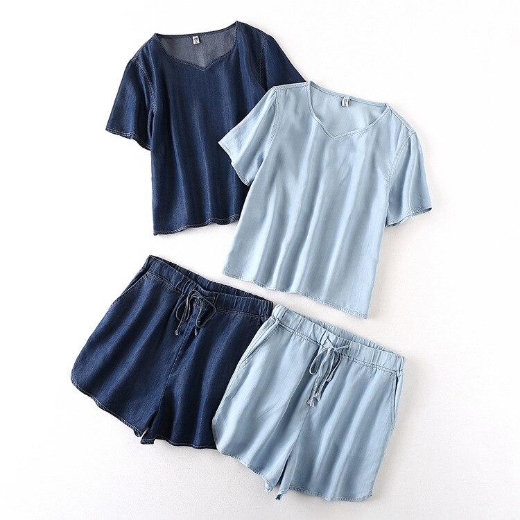 30030 2018 Summer Korean-style Casual Cowboy Short Sleeve T-shirt Shorts Set Large Size Student Sports Two-Piece Set